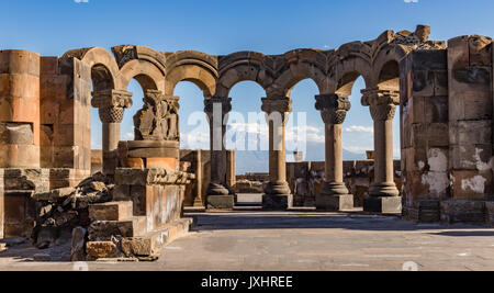 Ruins of the Zvartnos temple in Yerevan, Armenia, with Mt Ararat in the background - Stock Photo