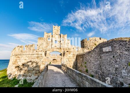 St Paul's Gate at Rhodes old town and bridge leading to it, Rhodes island, Greece - Stock Photo