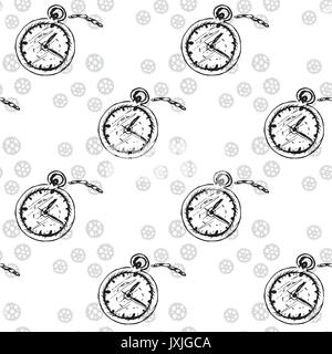 Vintage seamless pattern with watches  vector eps 10 Stock