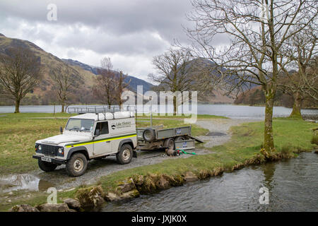 National Park rangers working in Buttermere Valley, Lake district National Park, Cumbria, England, UK - Stock Photo