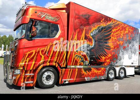 ALAHARMA, FINLAND - AUGUST 11, 2017: The new cool super truck Next Generation Scania S580 Firebird of Ristimaa Trucking - Stock Photo