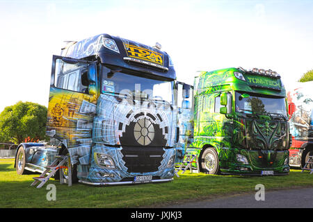 ALAHARMA, FINLAND - AUGUST 11, 2017: Imaginative Vader and Alien DAF XF super trucks of Tom-Tech on display on Power - Stock Photo