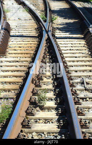 Train track in front of close up photo - Stock Photo