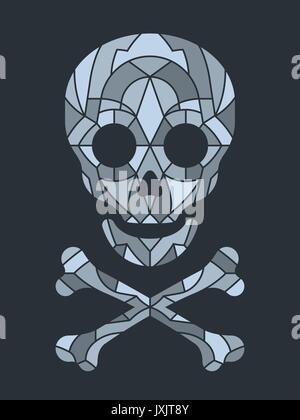 Mosaic tile or jigsaw puzzle skull in grayscale over black background, vector illustration - Stock Photo