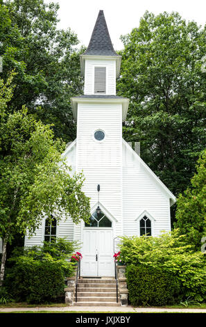 Old Mission Congregational Church on Old Mission Peninsula near Traverse City, Michigan, USA - Stock Photo