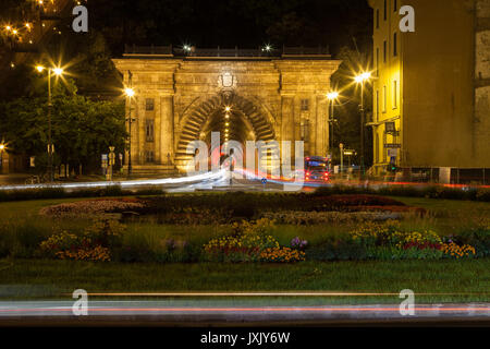 The tunnel entrance to Buda below hill castle in Budapest, Hungary. - Stock Photo
