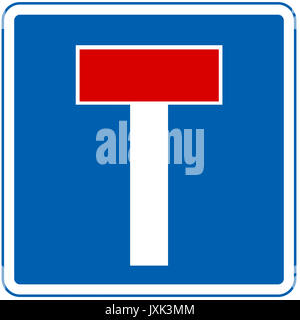 No through road road sign on white background - Stock Photo