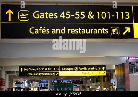 Signs at london gatwick airport north terminal entrance stock photo royalty free image - Bureau de change crawley ...