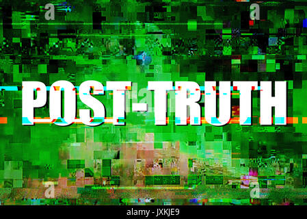 Post-truth or post-factual concept, shaping public opinion by appealing to emotion and personal belief - Stock Photo