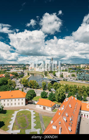Vilnius, Lithuania. Modern City And Part Of Old Town Under Dramatic Sky In Summer Day. Behind New Arsenal At Northern - Stock Photo