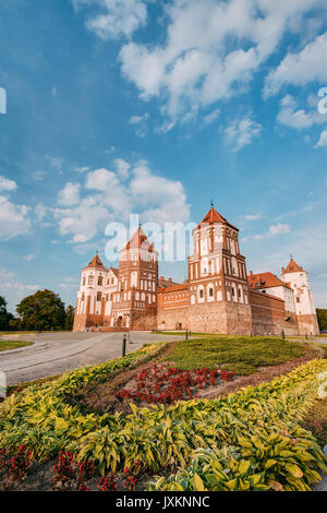 Mir, Belarus. Mir Castle Complex In  Sunny Summer Day. Architectural Ensemble Of Feudalism, Cultural Monument, UNESCO - Stock Photo