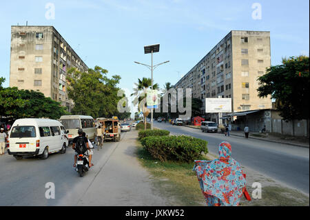 TANZANIA Zanzibar, Stone town, apartment block buildings, constructed in East Germany GDR block building style called - Stock Photo