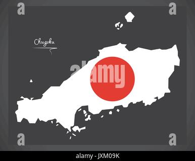 Chugoku map of Japan with Japanese national flag illustration - Stock Photo
