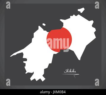 Shikoku map of Japan with Japanese national flag illustration - Stock Photo