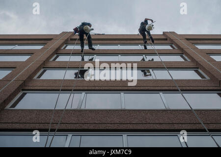 Two men cleaning office windows high up - Stock Photo