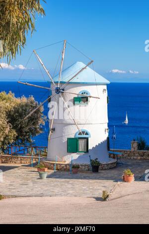 Old windmill on Skinari, Zakynthos island, Greece - Stock Photo