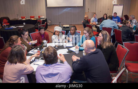 Detroit, Michigan - Members of the American Federation of Teachers discuss issues facing university and college - Stock Photo