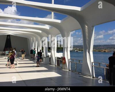 Memorial Bridge, USS Arizona, Pearl Harbor, Oahu, Hawaii - Stock Photo