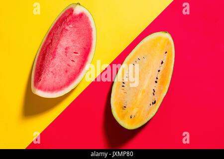 Watermelon on yellow background - Stock Photo