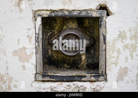 Old power switch. Power switches in an old building on the background of an old wall. - Stock Photo