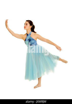 A teenage lyrical dancer softly poses - Stock Photo