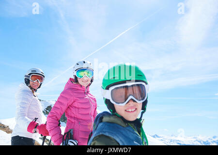 Mother, daughter and son on skiing holiday, Hintertux, Tirol, Austria - Stock Photo