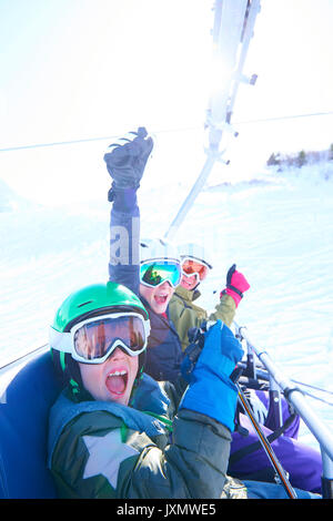 Family on skiing holiday, Hintertux, Tirol, Austria - Stock Photo