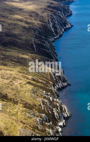 Aerial view of West Falkland island, Port Stanley, Falkland Islands, South America - Stock Photo