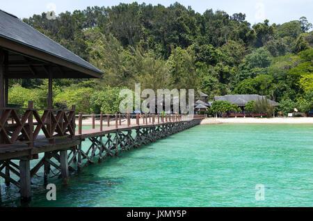 Jetty On Pulau Gaya, Tunku Abdul Rahman National Park, Kota Kinabalu, Sabah, Malaysia - Stock Photo