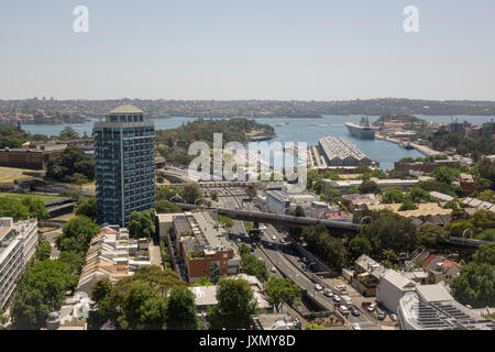 Aerial View Of Woolloomooloo Bay And Finger Wharf Sydney Australia An Inner City Suburb Of Sydney New South Wales - Stock Photo