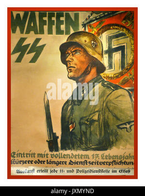 1940's German wartime propaganda recruitment poster for the notorious brutal Nazi Waffen SS military regime in Germany - Stock Photo