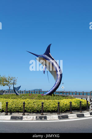 Swordfish statue located on a small roundabout, Kota Kinabalu seafront, Sabah, Borneo, Malaysia - Stock Photo