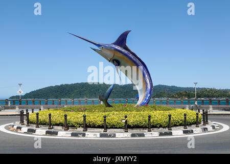 Giant marlin statue located on Kota Kinabalu seafront, Sabah, Borneo, Malaysia - Stock Photo