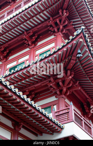 Architectural details of Buddha Tooth Relic Temple, Chinatown district, Singapore - Stock Photo