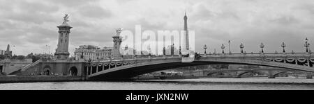 A panoramic view of Paris showing the Pont Alexandre III and the Eiffel Tower behind, shot in black and white - Stock Photo