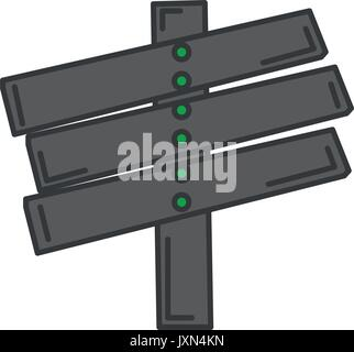 wooden way label icon - Stock Photo