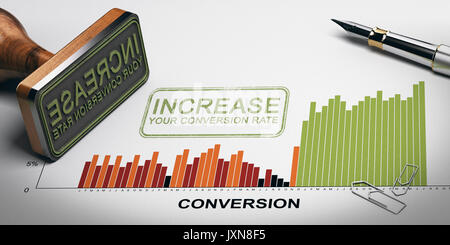 Paper sheet with conversion rates statistics, rubber stamp and slogan with the text increase your conversion rate. - Stock Photo