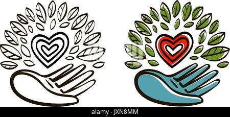 Organic, natural product logo. Ecology, environment icon or symbol. Vector illustration - Stock Photo