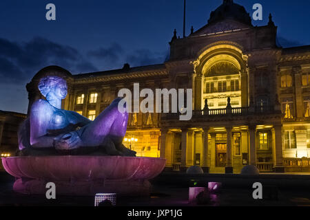 Birmingham Town Hall and 'The River' statue at night - Stock Photo