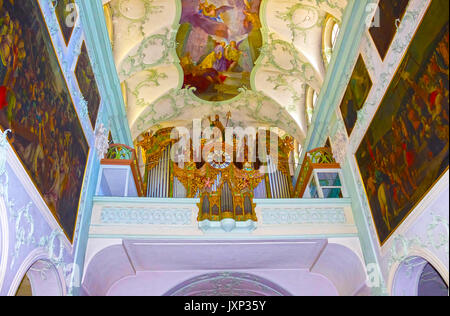 Salzburg, Austria - May 01, 2017: Saint Peter Abbey Church interior. Founded in 696 it is considered one of the - Stock Photo