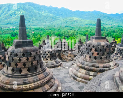 Stupas in Borobudur Temple, Central Java at Indonesia - Stock Photo