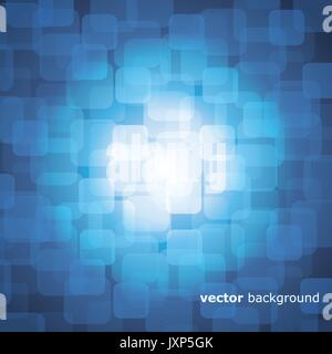 Vector 3D Warped Squares On Blue Background with Light - Stock Photo