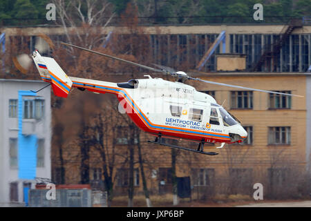 Zhukovsky, Moscow Region, Russia - November 10, 2013: MBB Kawasaki BK.117 of Ministry of Emergency Situations of - Stock Photo