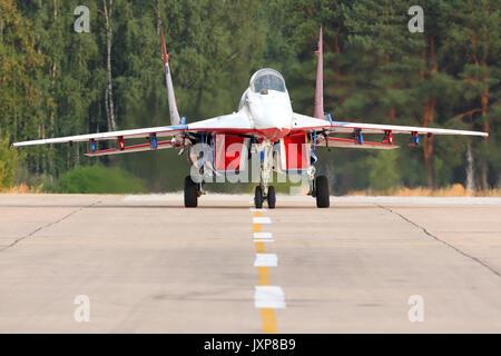 Kubinka, Moscow Region, Russia - August 5, 2014: Mikoyan Gurevich MiG-29 05 BLUE at Kubinka air force base. - Stock Photo