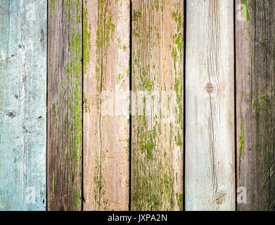 Old wooden fence with knots as background Stock Photo
