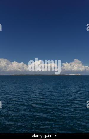 Seven sister and beachy head cliffs from the English channel - Stock Photo