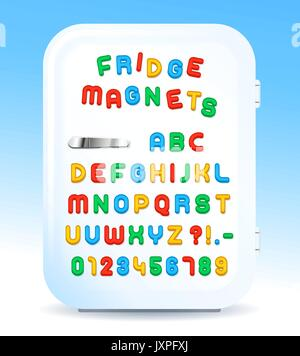 Colorful magnetic alphabet letters on refrigerator door, vector illustration - Stock Photo