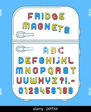 Colorful numbers and alphabet refrigerator magnets on doors over blue background, vector illustration - Stock Photo