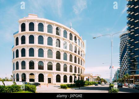 Batumi, Adjara, Georgia - May 25, 2016: Colosseum Marina Hotel in Sherif Khimshiashvili street in sunny summer day - Stock Photo