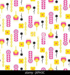 Scandinavian folk floral art pattern seamless vector. - Stock Photo